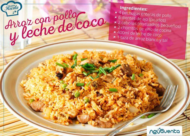 Sorprende a tu familia con un sencillo y delicioso arroz con pollo y leche de coco. Ingredientes: en la imagen. Limpia y deshuesa las pechugas, corta en cuadros. Pon a calentar, con un chorrito de aceite, los dientes de ajo y las cebollas. Añade el pollo. Agrega el vino de cocina, la leche de coco y revuelve. Deja la mezcla a fuego bajo durante 5-10 minutos. Añade el arroz, revuelve y deja cocer durante 20-30 minutos (agrega agua a medida que sea necesario). Retira del fuego y deja reposar.