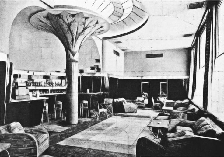 """Bar Miami, anejo al Café Zahara en la Gran Vía de Madrid. Fecha: 1930. Los arquitectos decoraron un espacio destinado a bar con una composición diferente, casi tropical, haciendo honor al nombre """"Bar Miami""""."""
