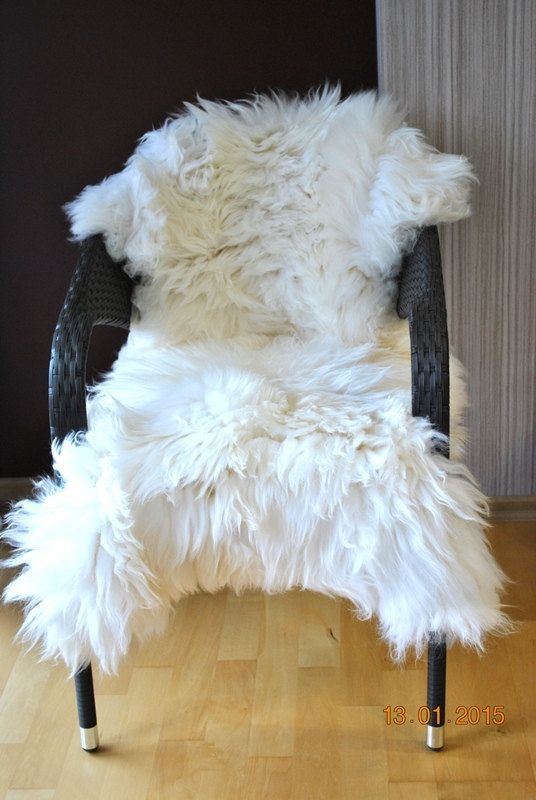 Beautiful white large Sheepskin Rug. Chair covers . Pet beds . Beautiful and cozy rugs . Natural colors. Gift.