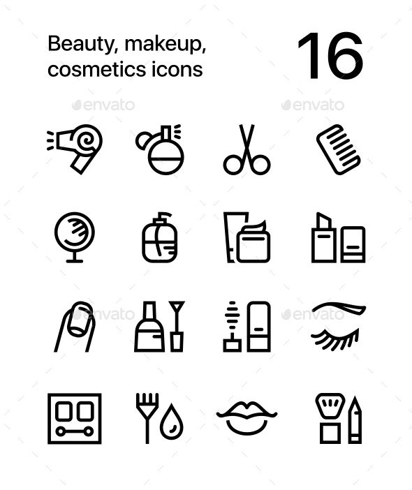 Beauty, Cosmetics, Makeup Icons for Web and App