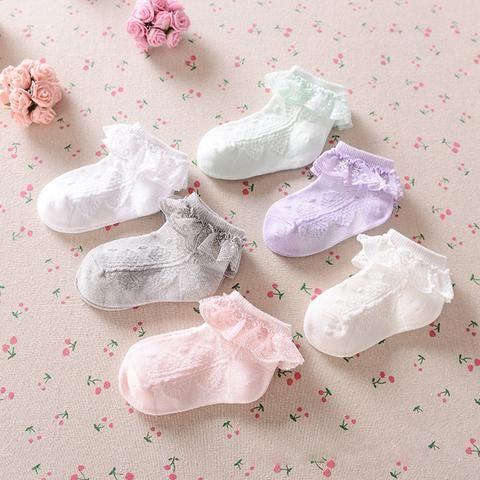 Кружевные носки  Принцесса  6 цветов Хлопок Спандекс Summer Для Новорожденных Детей
