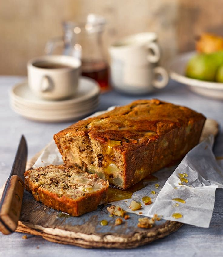 This cake recipe is a brilliant way to use up browning bananas in the fruit bowl. It's all the more sticky and decadent with the addition of pears.