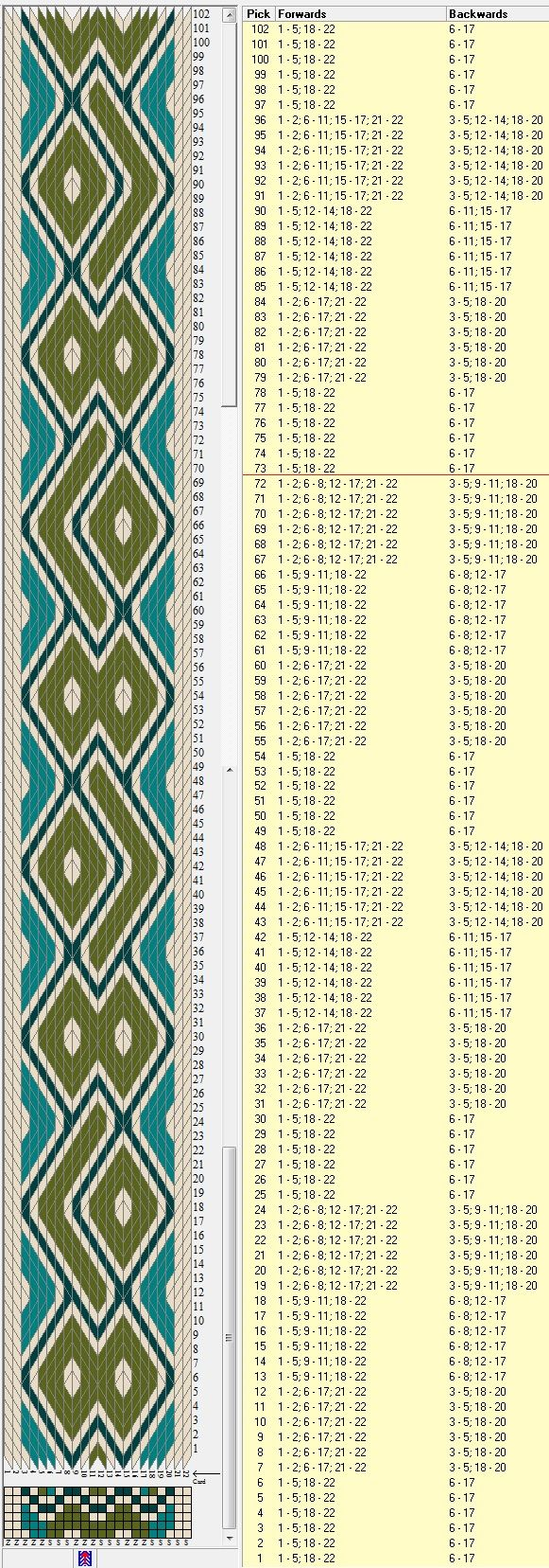 22 tarjetas hexagonales, 4 colores, repite cada 72 movimientos // sed_526_c6…