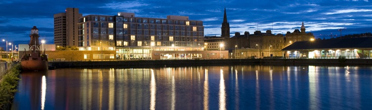 Apex City Quay Hotel and Spa Dundee. Kids eat and stay for free, great food, lovely hotel, complimentary rubber duck as souvenir!