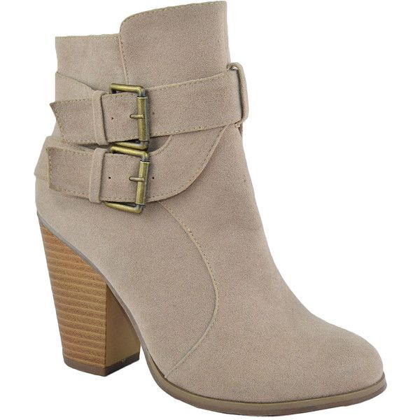 Chase & Chloe Nude Max Buckle-Accent Bootie ($28) ❤ liked on Polyvore featuring shoes, boots, ankle booties, ankle boots, high heel boots, nude boots, stacked heel booties, buckle ankle boots and bootie boots