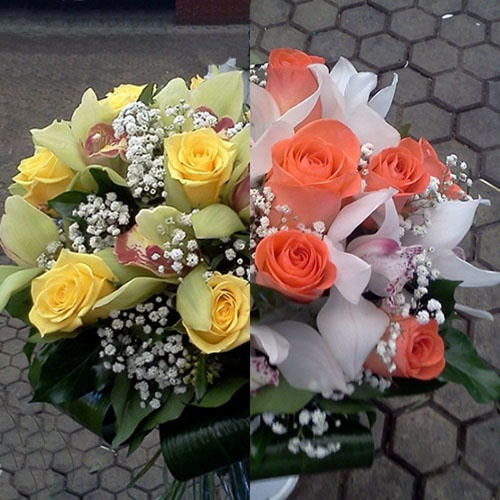Doua buchete de trandafiri si orhidee ...   Pe care il preferi?  http://www.facebook.com/livrare.flori.timisoara