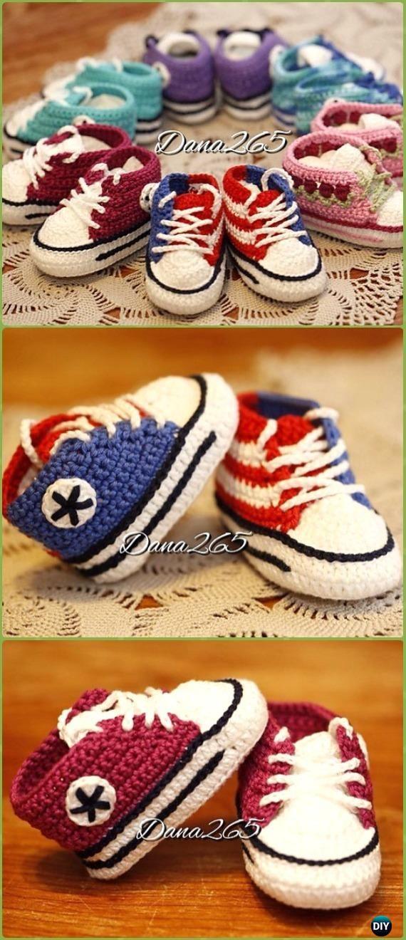 Crochet Baby Allstar Sneakers Free Pattern - Zapatillas de deporte de crochet Patrones gratuitos