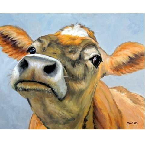 Jersey vaca lámina, Jersey, naranja curiosa vaca, pintura de Dottie Dracos, varios tamaños