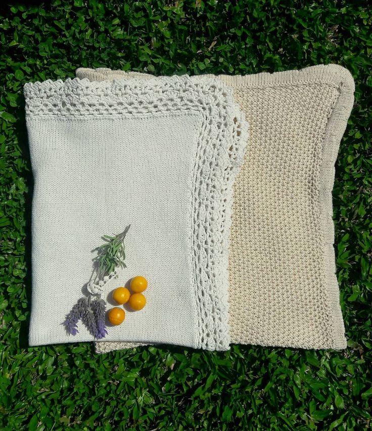 Recibimos nuestras primeras mantitas 🍃🍊🌿 Tejidas con hilo de algodón, …