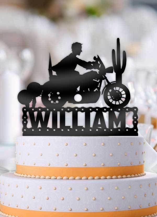Personalized Male Motorcycle Birthday Cake Topper