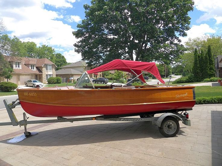 Cedar-strip Peterborough Nomad for sale. 16 ft., 1958. Both boat and engine restored to pristine condition. Complete with trailer, top, mooring cover, trailer and extras. $5995.