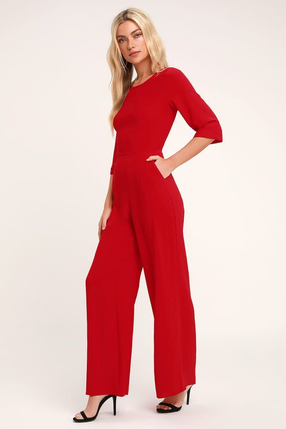 626dc01f2526 From the office to casual keep your look chic and trendy with the Lulus  Glam Squad Red Wide-Leg Jumpsuit! Love the half-sl…