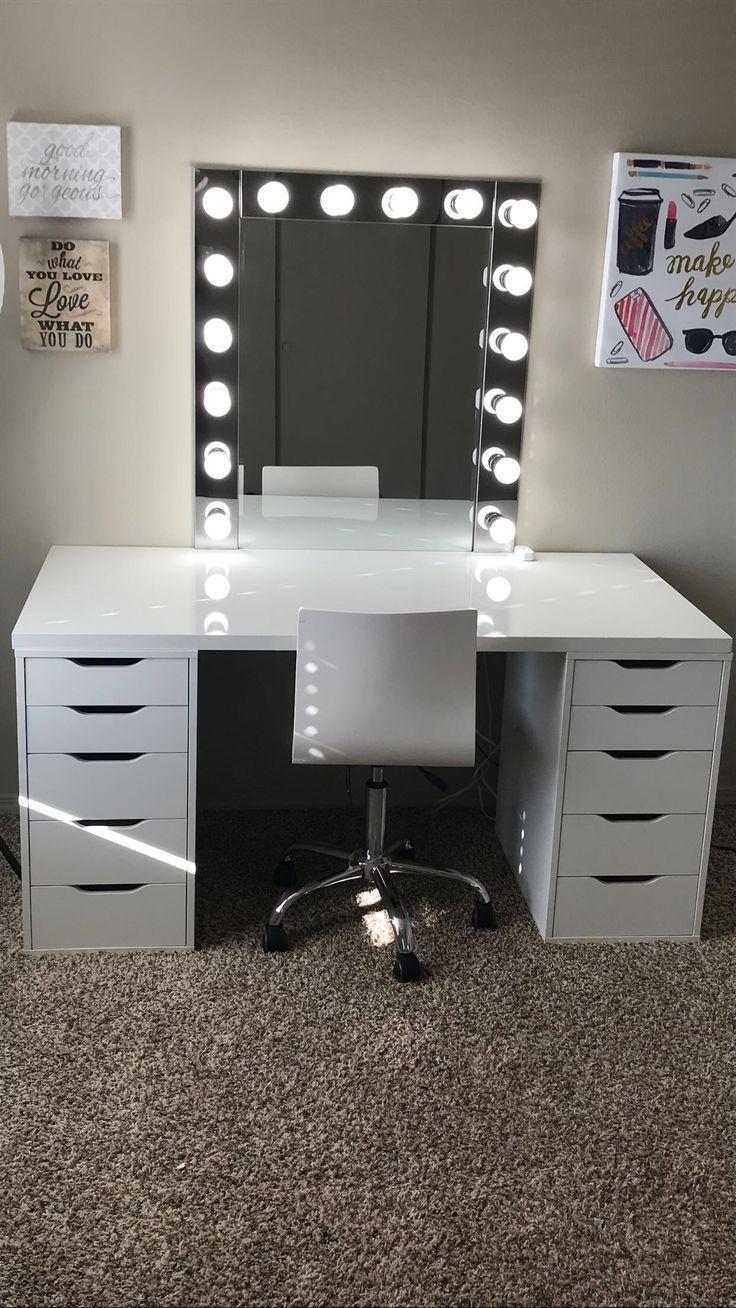Inspiration für Make-up-Räume! Ich liebe diesen Waschtisch in meinem Make-up-Raum! Ikea