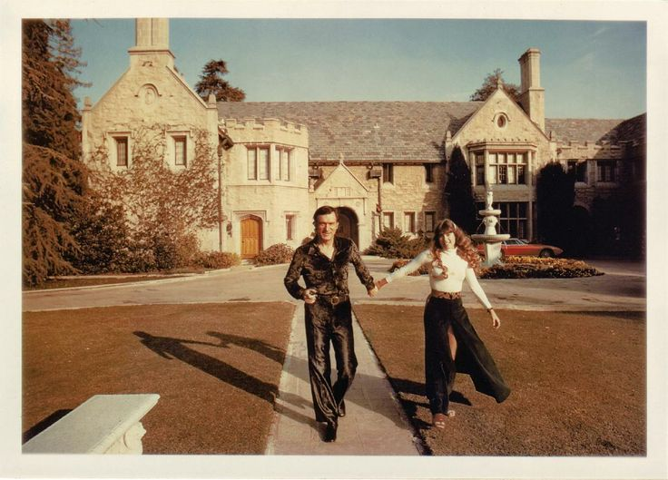 Hefner and Benton at Playboy Mansion West, 1970