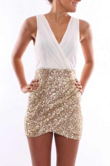 white and gold sequin dress that looks like separates