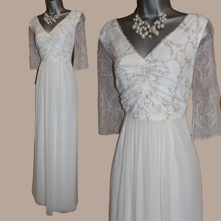 MONSOON Ivory With Gold Embellished V- Neck 3/4 Sleeve Wedding Maxi Dress UK 12