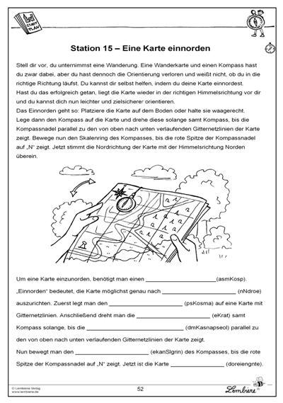 eine karte einnorden rund um die schule sachunterricht grundschule sachkunde schule. Black Bedroom Furniture Sets. Home Design Ideas