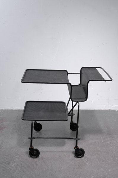 Mathieu Matégot; Painted Steel 'Java' Serving Trolley for La Villette, 1954.