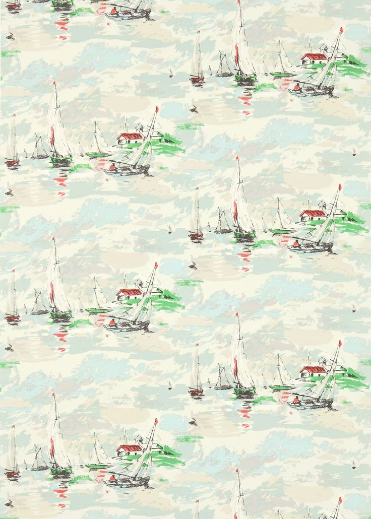 Sail Away (224341) - Sanderson Fabrics - A whimsical scene of sailing boats gliding across the horizon. The dry brush painterly feel of the 1950s wallpaper, from which the fabric took inspiration, has been replicated with great care. Coastal fun for family rooms and informal living rooms. Shown here in shades of pale blue and green, red and white. Other colour ways and coordinating wallpaper available. Please request a sample for true colour and texture match.