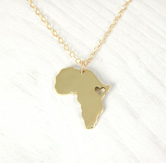 18kt Gold  Plated Africa Necklace Golden Nugold Heart Africa Ethiopia Pendant  Adoption Necklace  Ethiopia Ciondolo Africa Heart Necklace