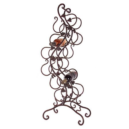 Wrought iron wine rack with scrolling vine detail.     Product: Wine rackConstruction Material: Wrought iron