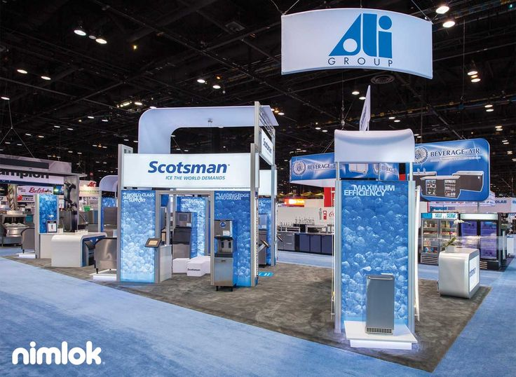Scotsman - custom trade show exhibit. This booth uses a cool color palette to reflect the client's branding. Large ice graphics are used throughout the exhibit to quickly convey the brand's products and services to trade show attendees. Design by Nimlok Chicago.