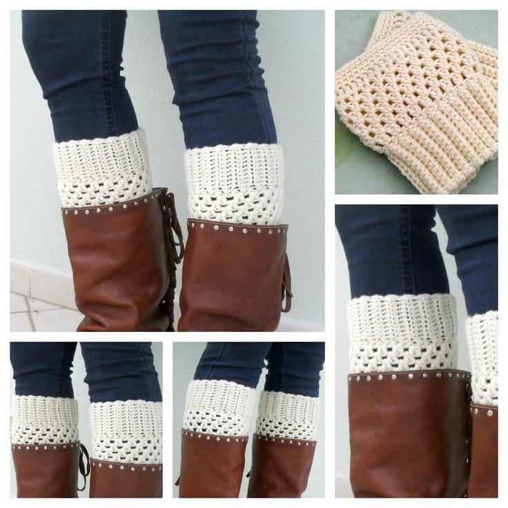 Crochet Boot Cuffs - Natural