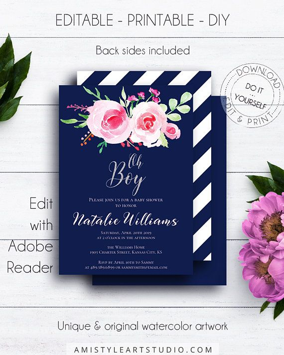 Navy Blue Oh Boy Baby Shower, with trendy and dazzling watercolor roses on navy blue in romantic style.This pretty boy baby shower invitation template listing is for an instant download EDITABLE PDF so you can download it right away, DIY edit and print it at home or at your local copy shop by Amistyle Art Studio on Etsy