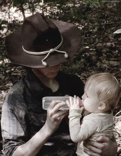 "At a recent convention, Chandler Riggs was asked what it was like working with a baby. He chuckled and responded, ""She keeps getting bigger and harder to carry."""