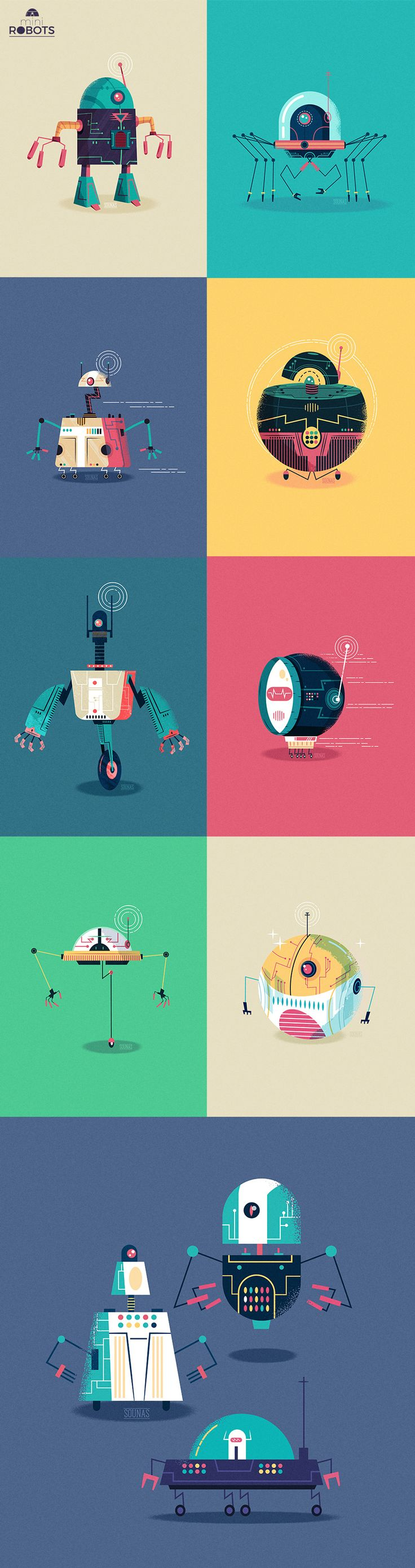 Mini Robts, a series of vector robots for fans of future technology.