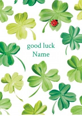 ladybird in the clover | personalised good luck card  Discount code to get 10% off --> SCRTZZGL