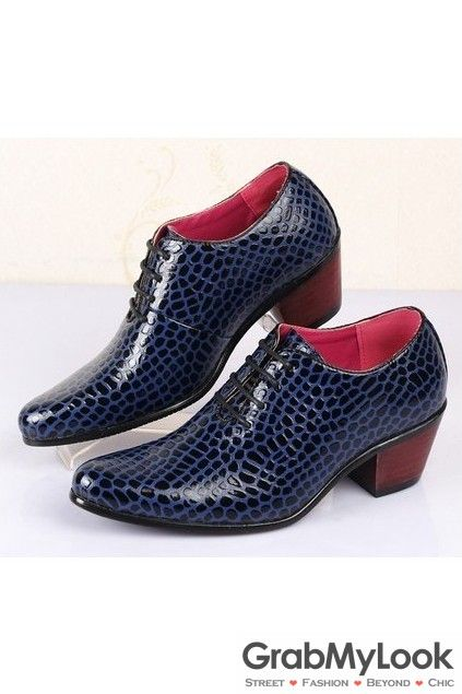 GrabMyLook Snake Skin Leather Pattern Punk Lace Up Shinny Blue Heels Oxford Mens Shoes Loafers