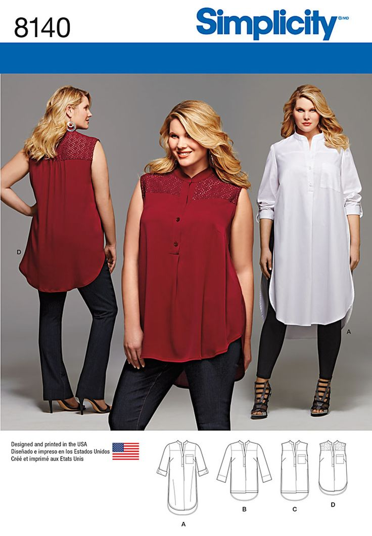 These gorgeous tops have been exclusively designed for the curvier figure - create four different designs with #Simplicity #sewing #pattern 8140.