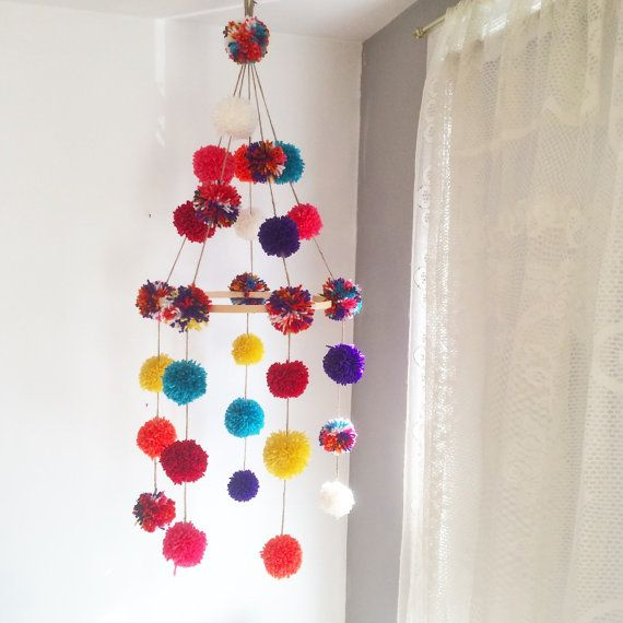 One of a kind pompom mobile custom nursery door LittleKnittyThings