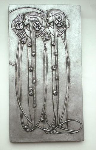 Pretty Mackintosh Art Nouveau Deco Style Wall Plaque Pewter Old Silver Effect | eBay
