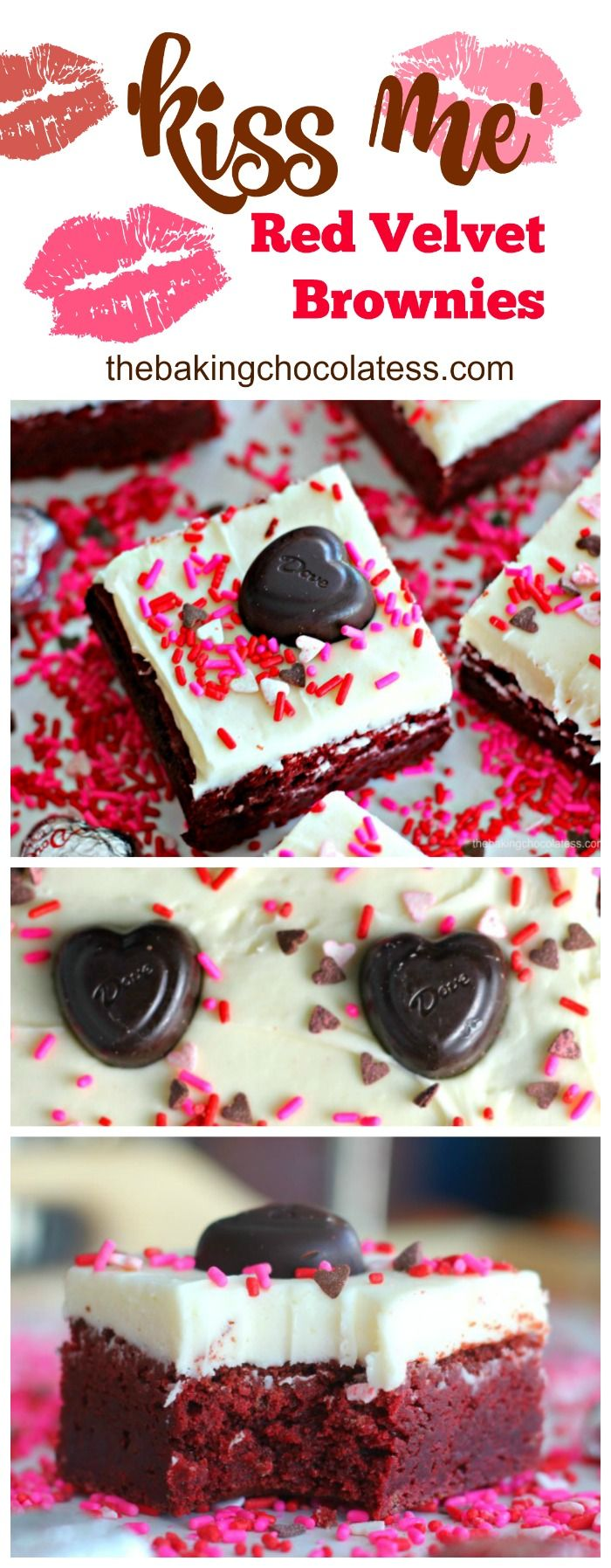 Rich, cream cheese frosted decadent red velvet brownies made with home-made love, waiting to be kissed by your lips! These are a Valentine's Day sweet treat sure to get some attention! via @https://www.pinterest.com/BaknChocolaTess/