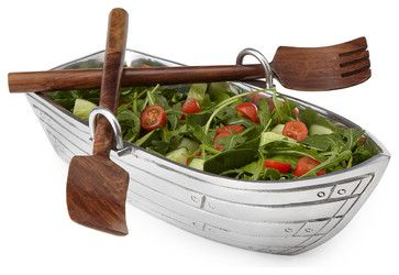 Rowboat Salad Bowl with Wood Serving Utensils - eclectic - serveware - UncommonGoods