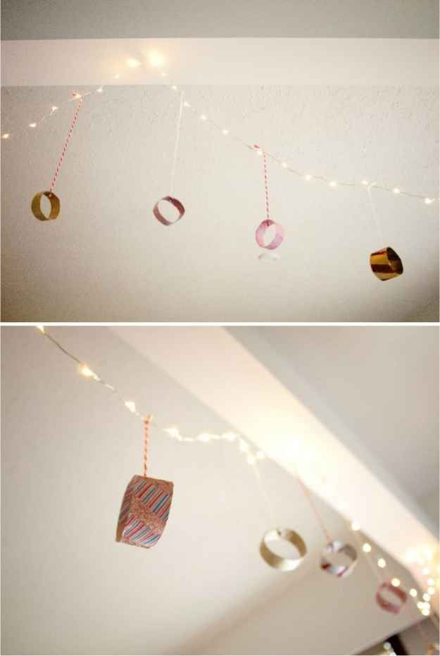 Hang ornaments from your ceiling.   21 Ways To Decorate A Small Space For The Holidays