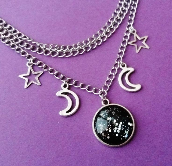 layered moon choker ☾ OfStarsAndWine on etsy ☾ pastel goth grunge witchy fashion