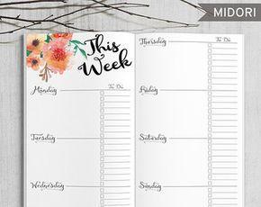 Yazdırılabilir Mermi Dergisi Haftalık ekler, Midori Haftalık Planlayıcısı, Yazdırılabilir Midori Traveler's Notebook haftalık planlayıcısı ekler, PDF dosyası