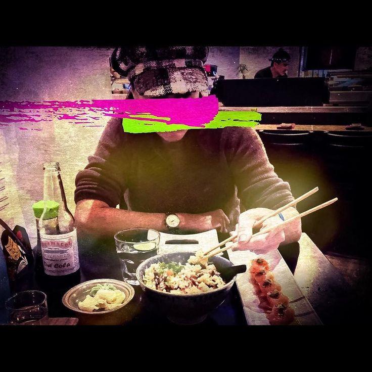 Hipster Sushi #DateNight   Miso Soup  House Kimchi  Fried Squid - ponzu spicy garlic aioli  Tokyo Dirty Rice Kobachi - shrimp bacon red pepper shishito pineapple thai basil  House Smoked Salmon Sashimi - miso mustard black lava salt  'Home Wrecker' Roll - Eel avocado kani kama tempura shrimp caramelized soy gochujang spiced cashews _ @saikosushi  #NorthParkSD  #SushiLife  #SDlife _ Sidenote: Across the street at the @observatorynorthpark was night 2 of a 3 night performance by old skool punk…