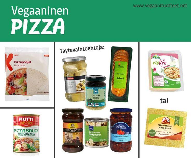 """Lista pizzapohjista: http://www.vegaanituotteet.net/herkut/leivonta-koristelu JUUSTO: Jotkut tykkäävät juustottomasta pizzasta tai väsätä """"juustoke"""" kaurakermasta&ravintohiivahiutaleista. Sulavia vegaanijuustoja löytyy Violifelta, Wilmersburgerilta ja Cheezlyltä. Lista: http://www.vegaanituotteet.net/perusruuat/kasvimaitotuotteet TÄYTTEET kuvassa: artisokansydämet, oliivi, herkkusieni, aurinkokuivattu tomaatti, Urtekram vihreä pesto, seitansalami. Kokeile myös maustettua soijarouhetta tai…"""