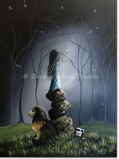 surreal art print girl lion fantasy surreal gothic di