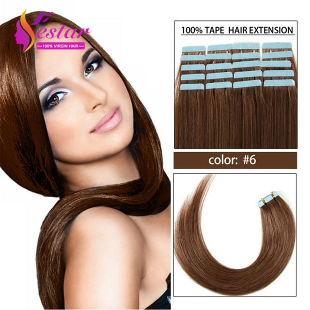 Tape In Hair Extensions 20 pieces Strong Adhesive Tape In Remy Hair Peruvian Straight Skin Weft Hair 18-24inch Tape Human Hair