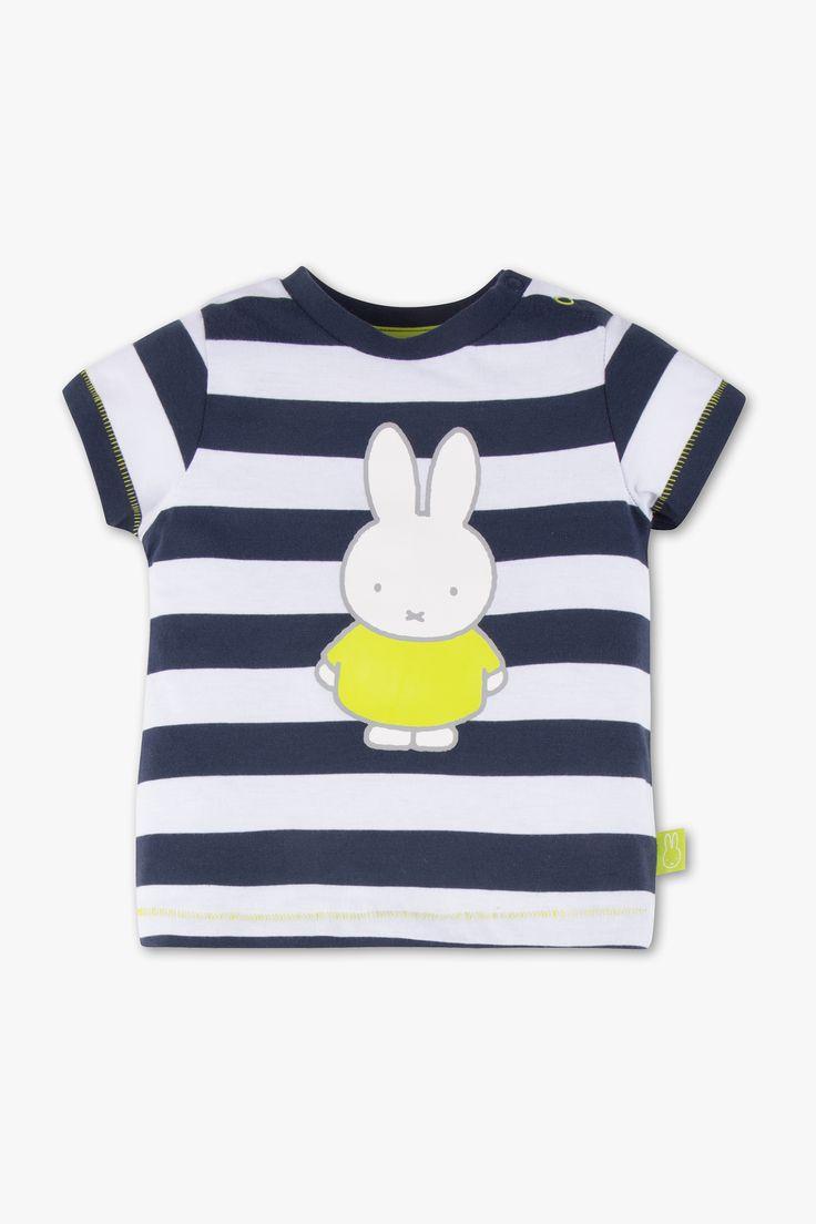 Bebés - Camiseta de manga corta para bebé con dibujo de Miffy - de rayas - azul oscuro / blanco