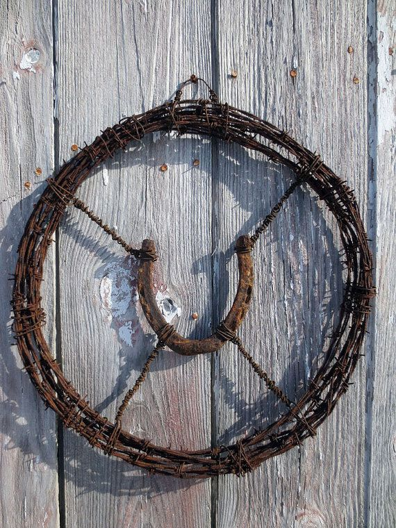 Hey, I found this really awesome Etsy listing at https://www.etsy.com/listing/175251129/barb-wire-wreath-w-hand-wired-horseshoe