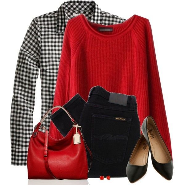 A fashion look from January 2015 featuring red sweater, black top and skinny jeans. Browse and shop related looks.