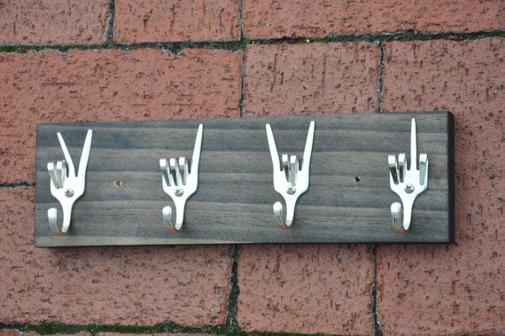 Peace x Love x Rock On x Fork U Key Rack Recycled Silverware