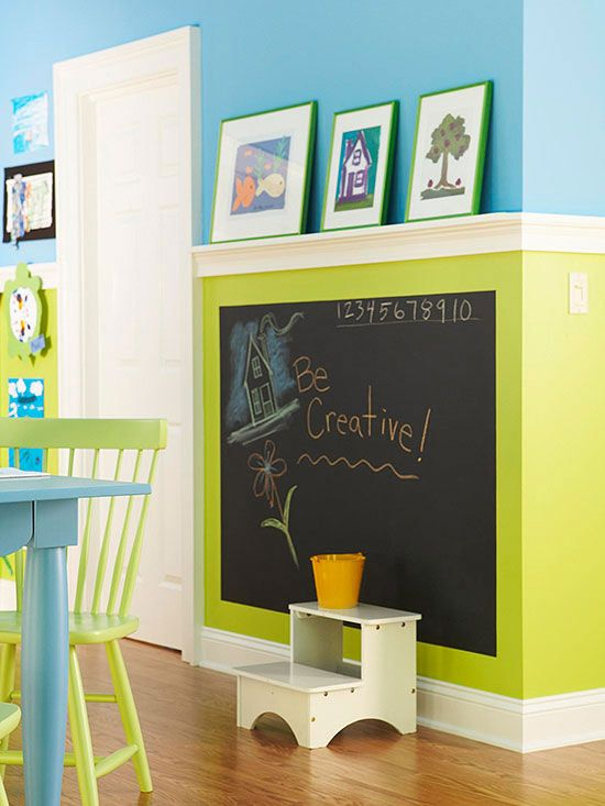 Creative Catalyst  kids room decor love the color block with chalkboard