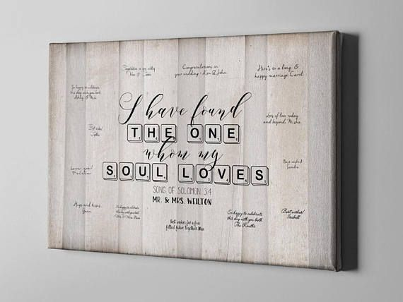 SALE 50% Off Canvas Guest Book Song of Solomon 3:4 Wedding